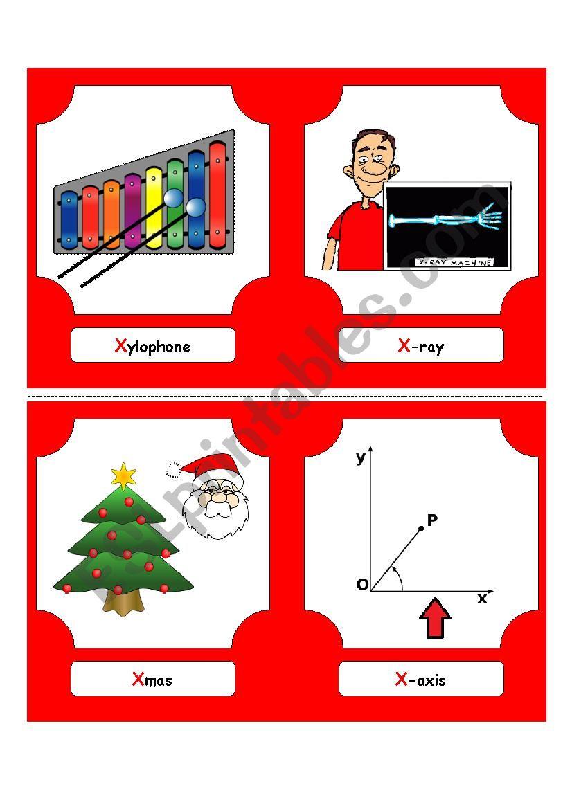 Alphabet Words - X (flash cards) - ESL worksheet by futago1998