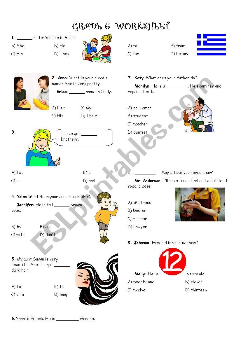 6th Grades General Revision  worksheet