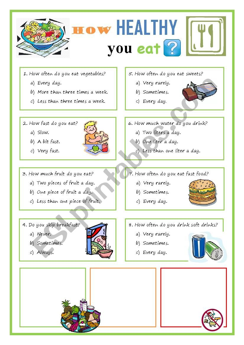 graphic regarding Printable Nutrition Quiz titled How wholesome do your self try to eat quiz - ESL worksheet as a result of eslandrea