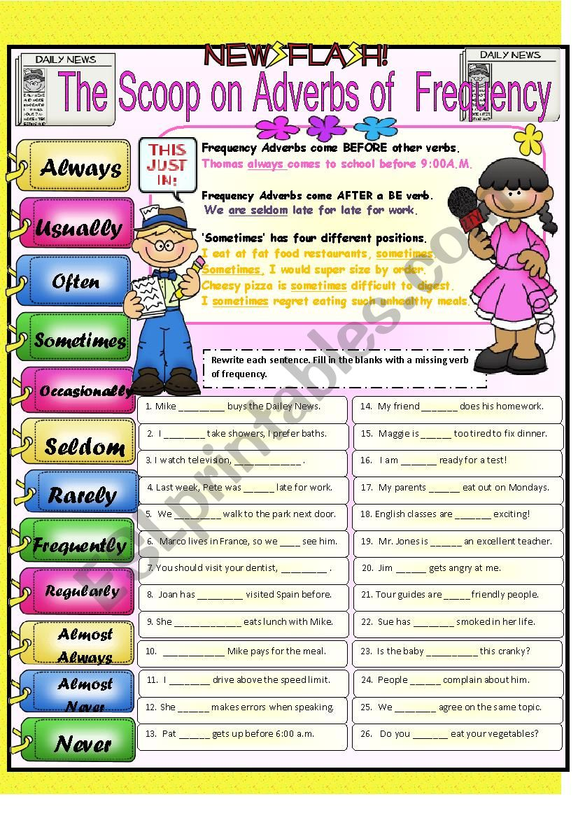 FREQUENCY ADVERBS PART 1 worksheet