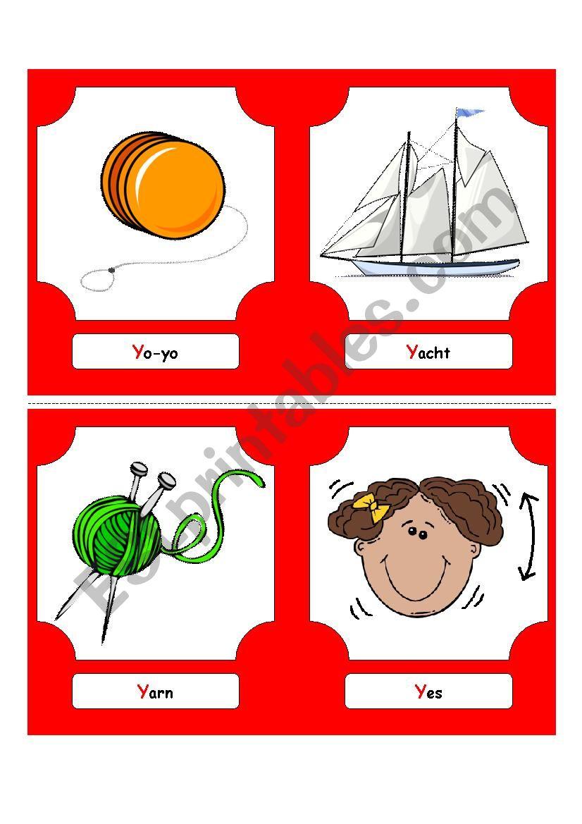 Alphabet Words - Y  (flash cards)