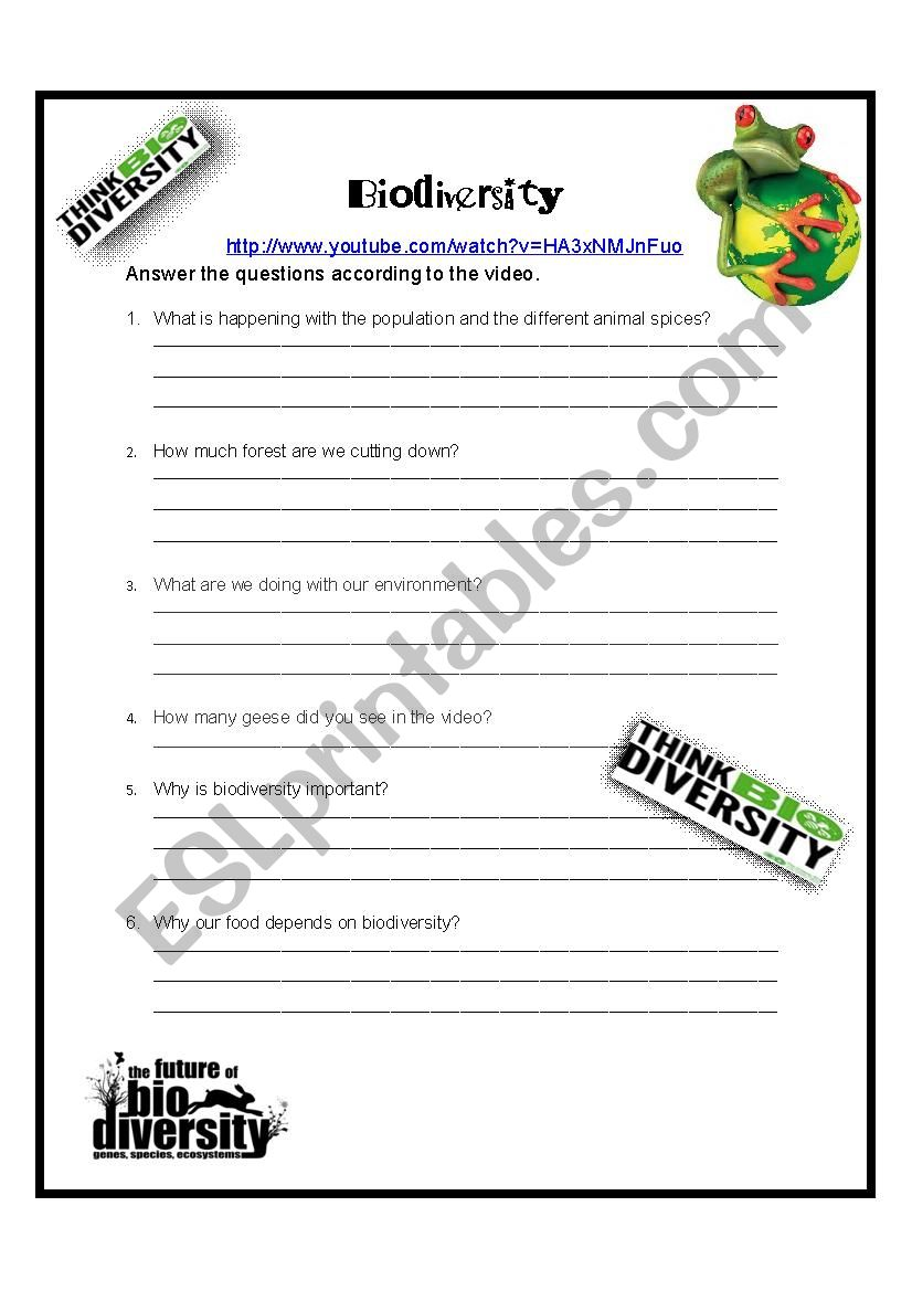 image regarding Biodiversity Printable Worksheets called Movie Video game - Biodiversity - ESL worksheet by means of gmbley