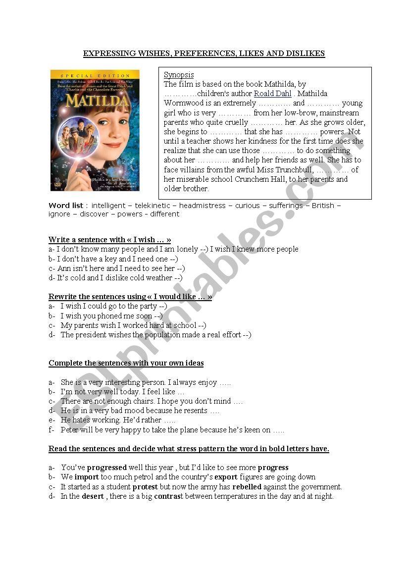 MATILDA + EXPRESSING WISHES worksheet