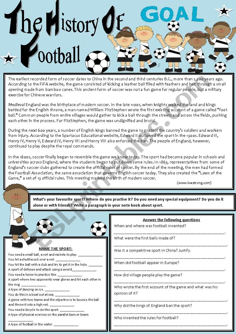The history of football worksheet