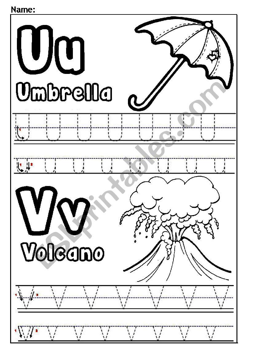 Letters U And V Esl Worksheet By Jessamay27