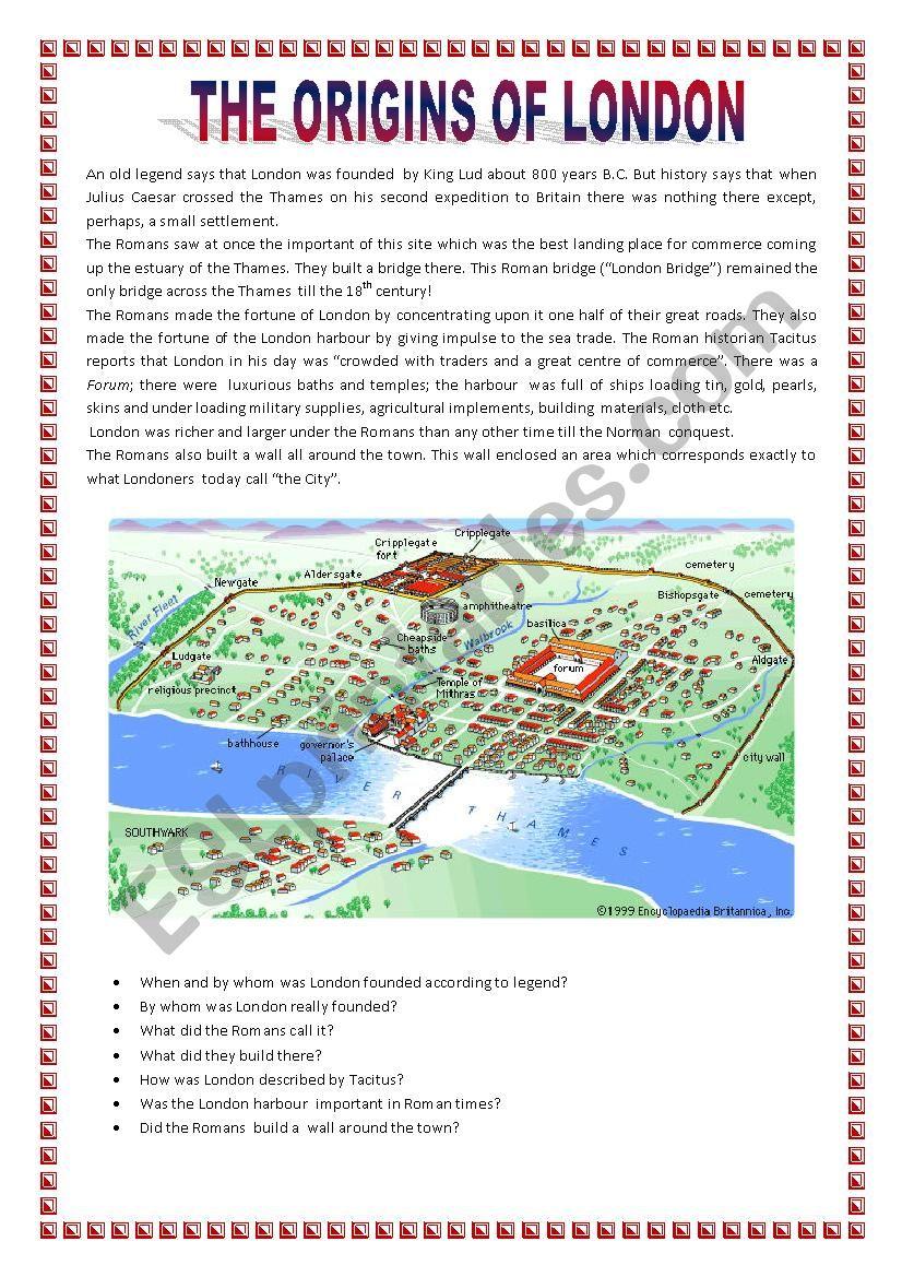 The origins of London worksheet