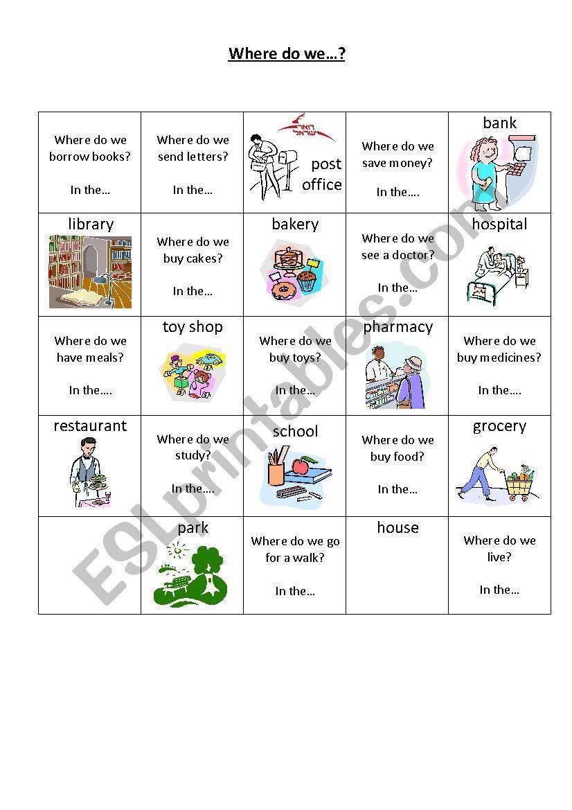 where do we....? memory game worksheet