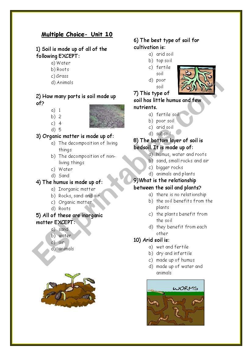 soil multiple choice worksheet esl worksheet by rosadonuria. Black Bedroom Furniture Sets. Home Design Ideas