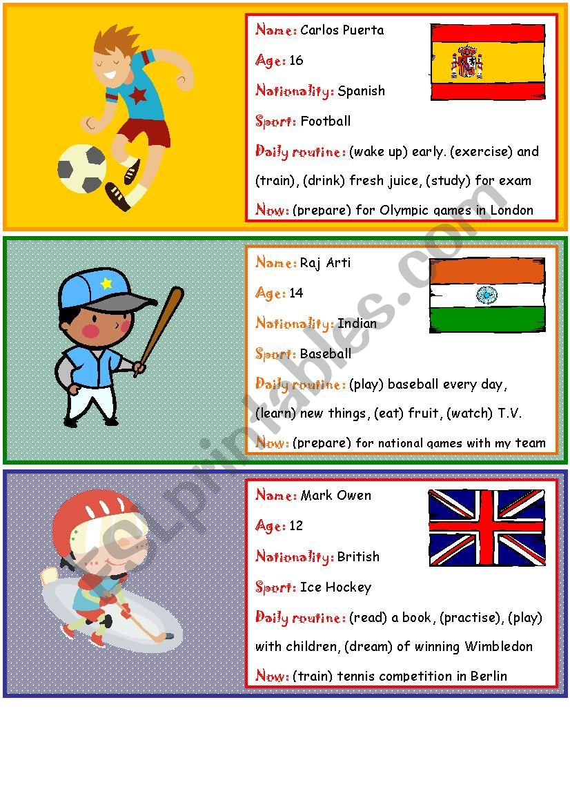 Role play cards on sports worksheet
