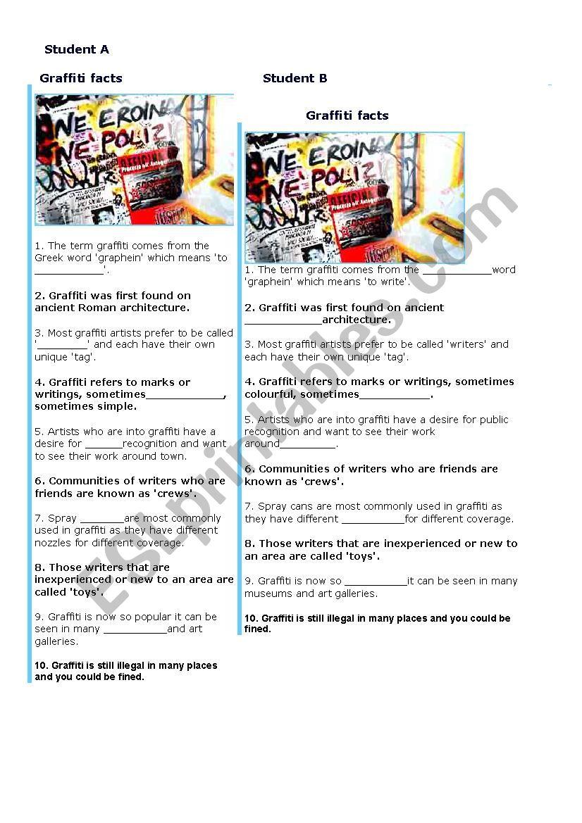 graffiti information gap worksheet