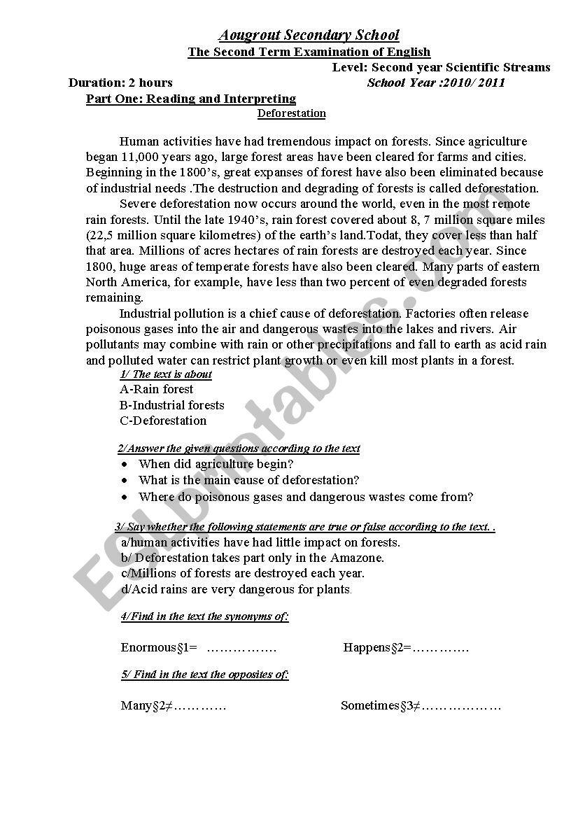 deforestation exam worksheet