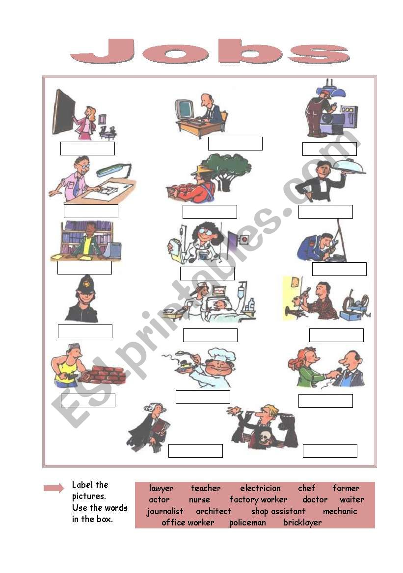 Jobs - ESL worksheet by prof inglês