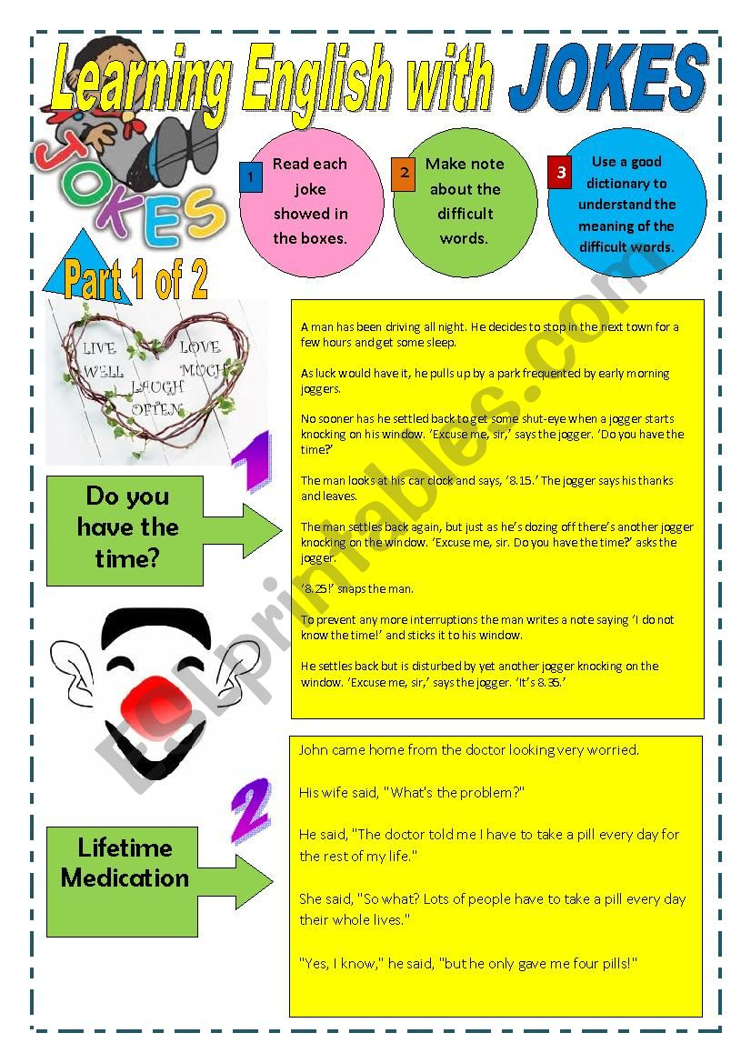 JOKES - LEARNING ENGLISH WITH JOKES - (Part 1 of 2) - 18 Pages with 30 jokes + Exercises and instructions/Game and 6 Extra activities