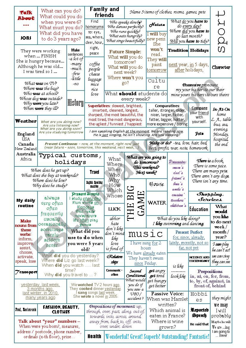 Revision Boardgame - 50 Conversation and Grammar Topics