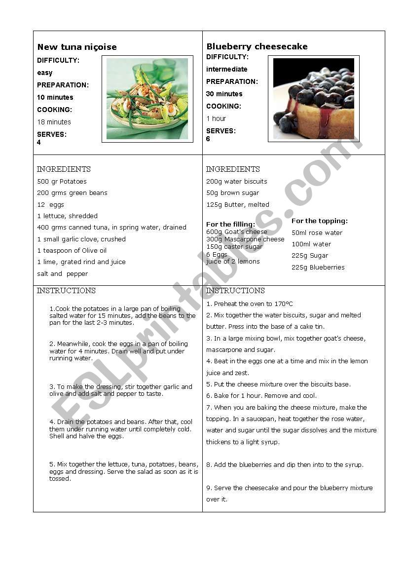 Information gap recipe 2 (final task : write your own recipe)