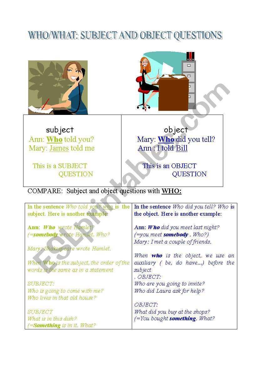 Subject and object questions. worksheet