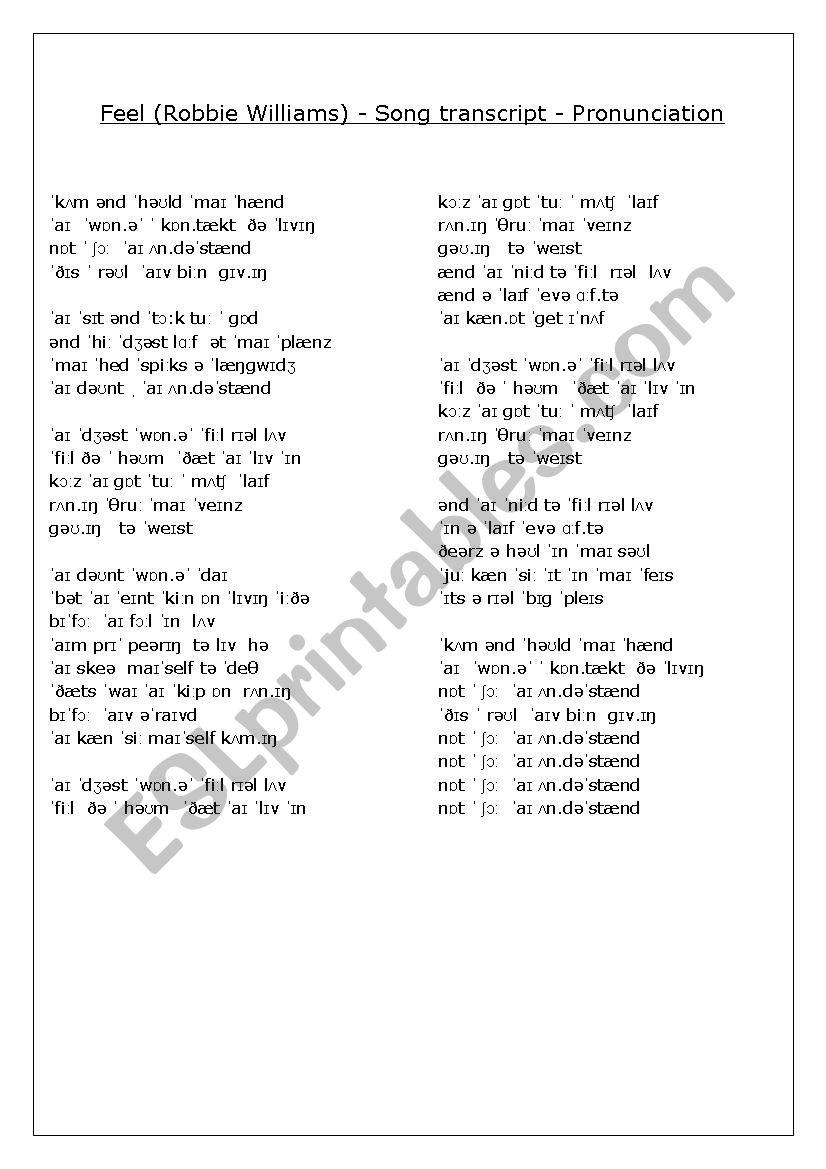 Pronunciation Trancript - Feel (Robbie Williams)