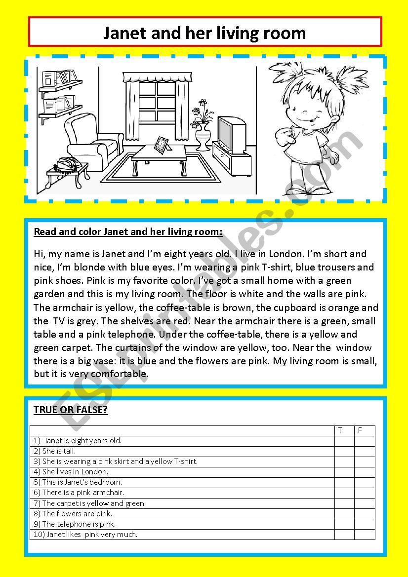 Janet and her living room worksheet