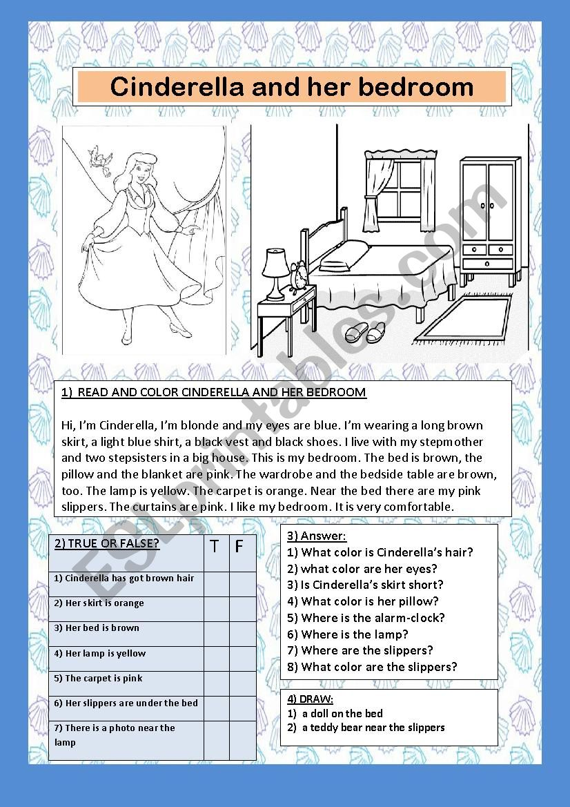 CINDERELLA AND HER BEDROOM worksheet