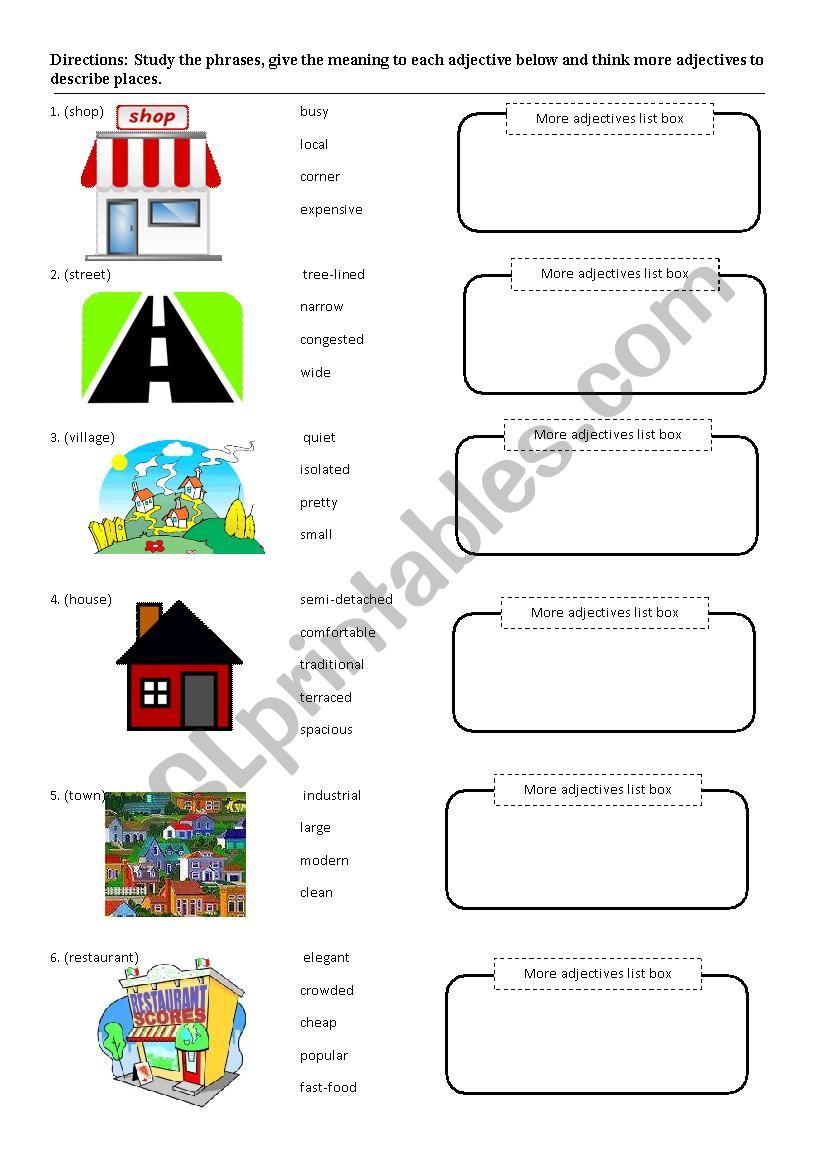 Adjective noun phrase worksheet - ESL worksheet by kiwiii
