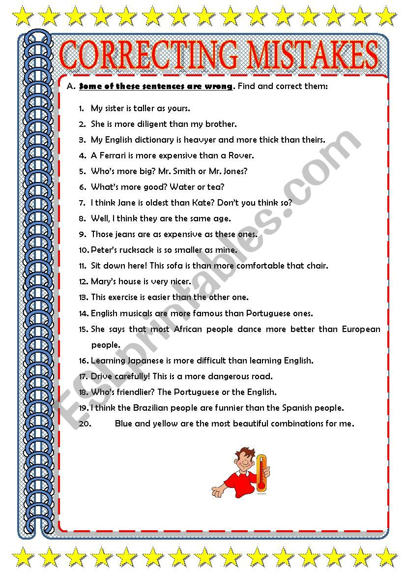correcting mistakes esl worksheet by ascincoquinas. Black Bedroom Furniture Sets. Home Design Ideas