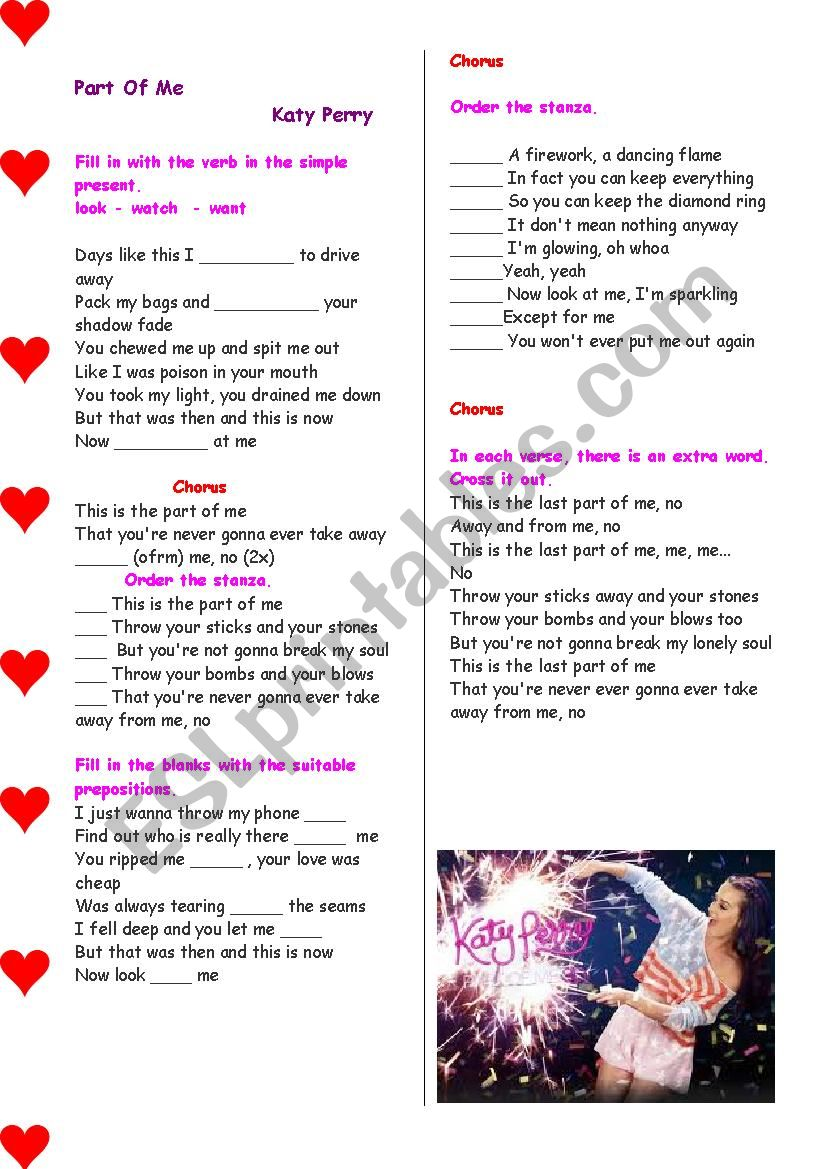 Having fun with listening comprehension : Song : Part of me (Katy Perry) - with answer key