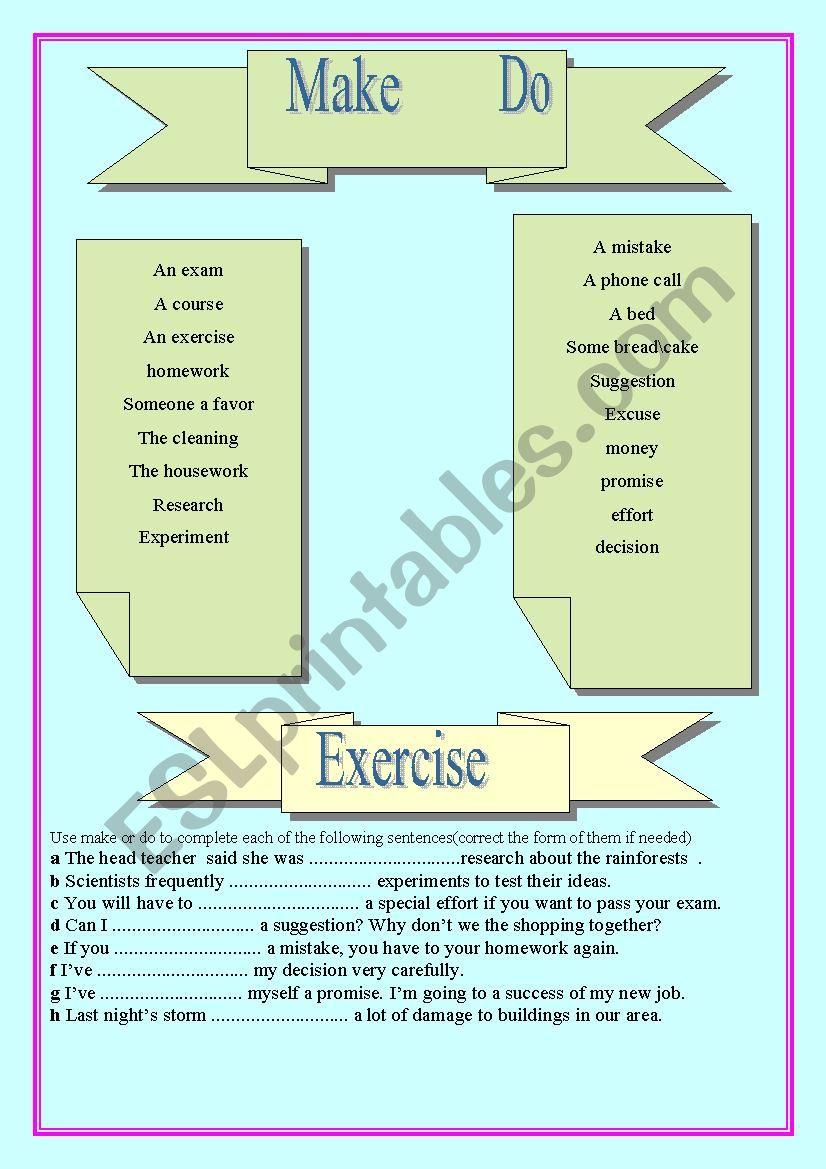 Make & Do  worksheet