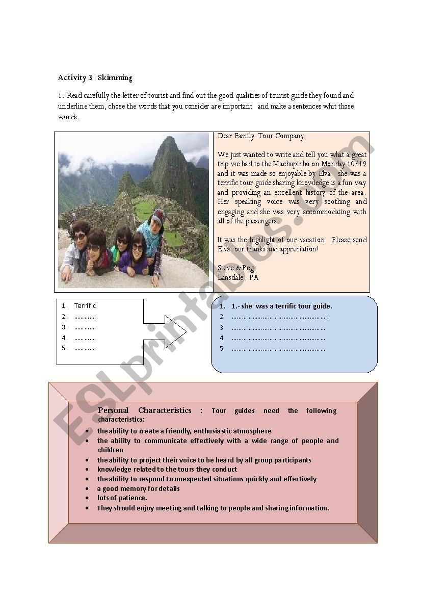 tour guide worksheet