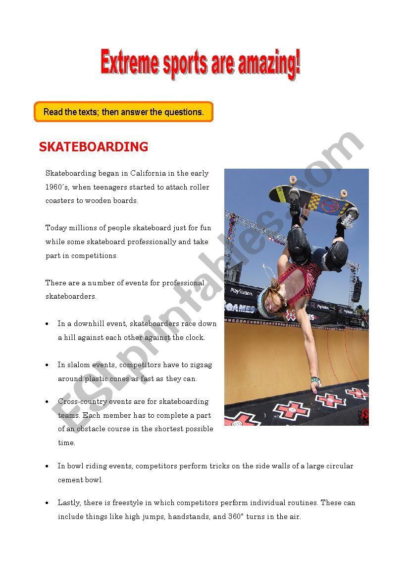 Extreme sports are amazing! - ESL worksheet by frankalf