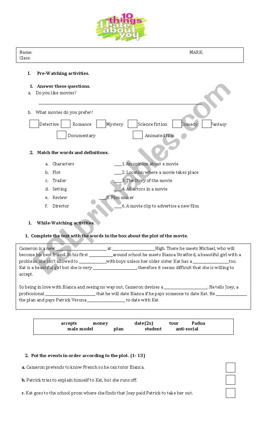 English Worksheets 10things I Hate About You Movie Worksheet
