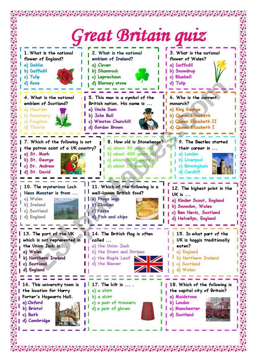 Great Britain quiz worksheet
