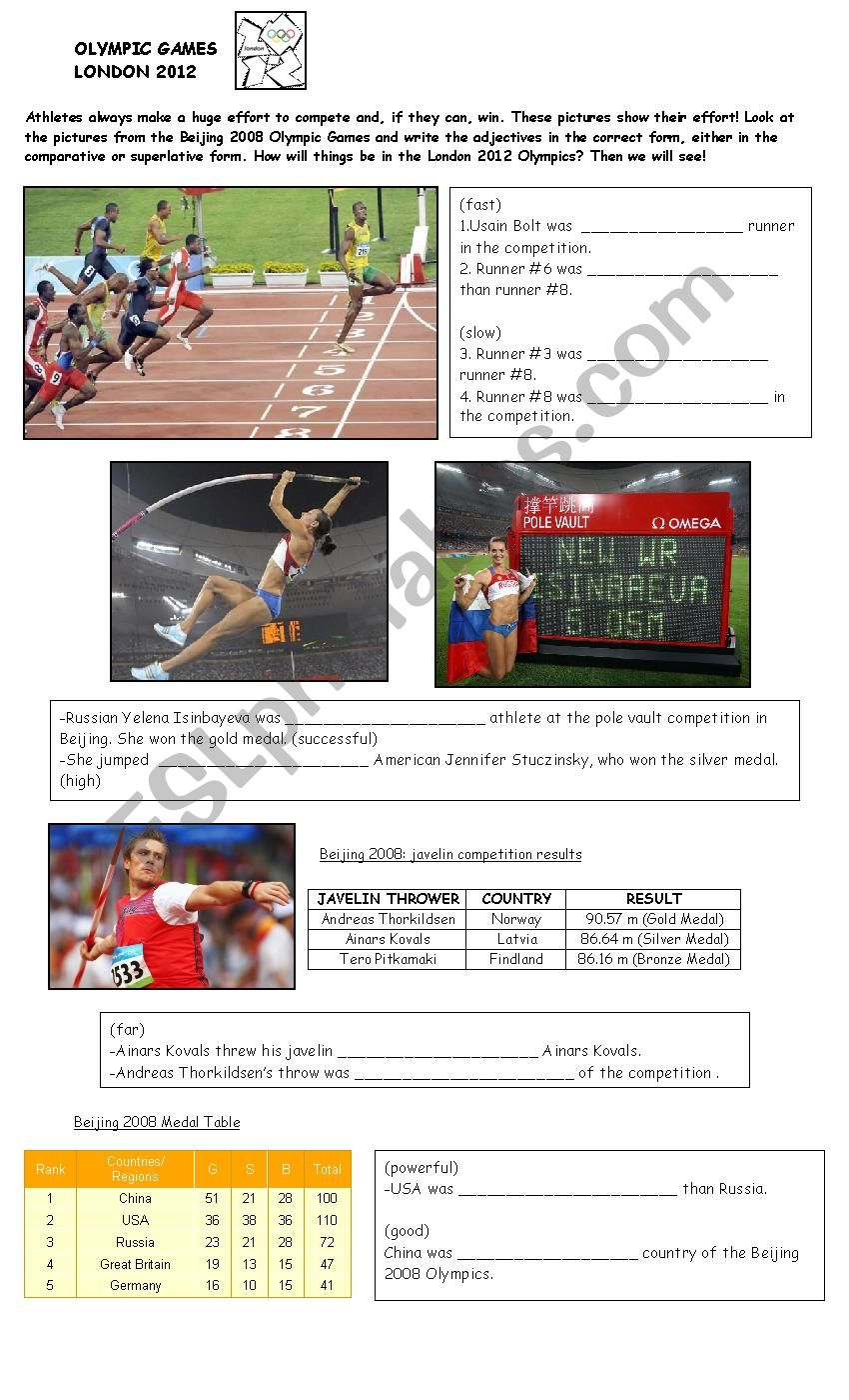 Olympic Games - Comparatives and Superlatives