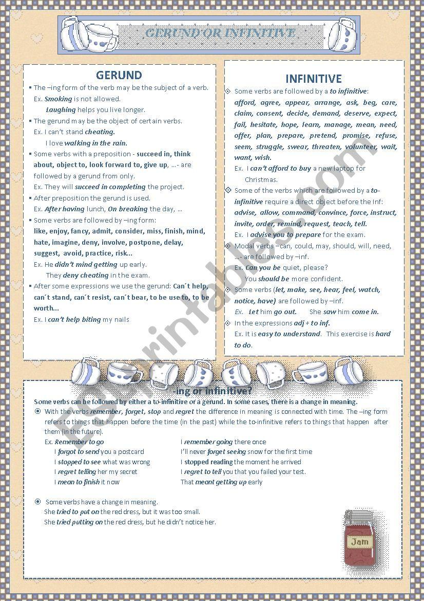 INFINITIVE or GERUND worksheet