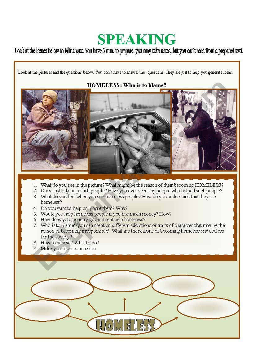 Homeless: who is to blame? worksheet