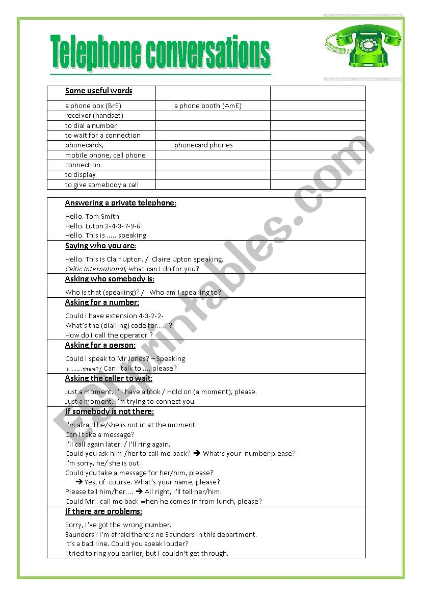 Telephone conversations worksheet