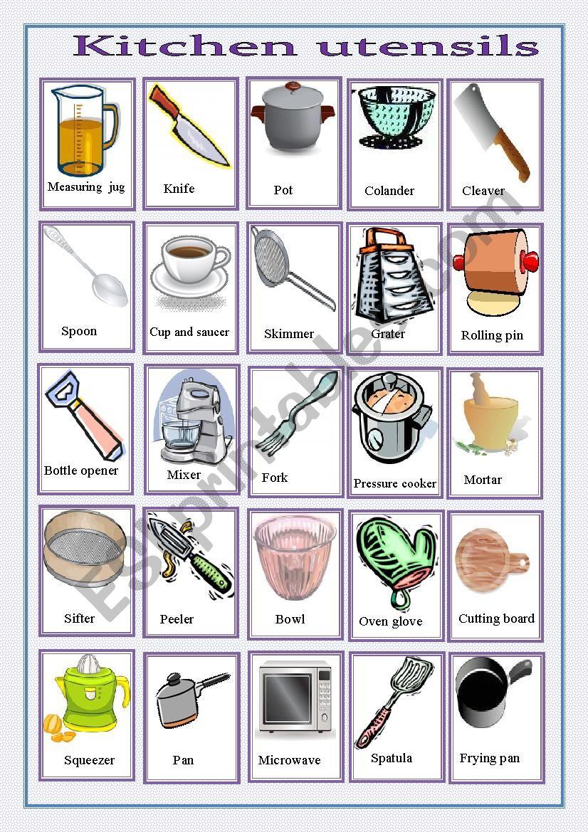 Kitchen Utensils Esl Worksheet By Sasuna