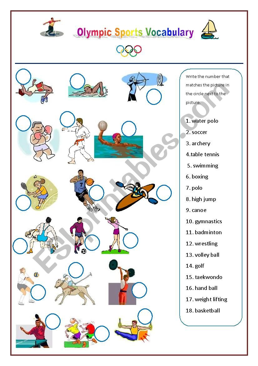 Olympic Games Sports Vocabulary worksheet