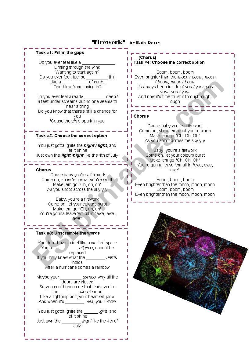 FIREWORK - Katty Perry worksheet