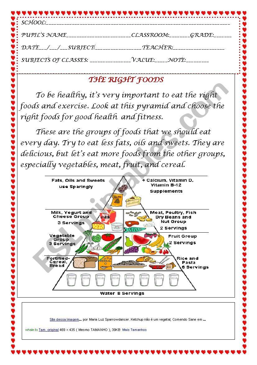 Os alimentos certos! worksheet