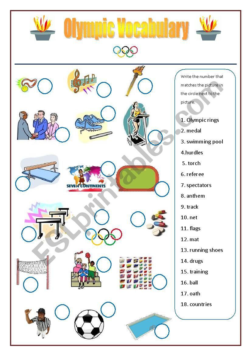 Olympic Games Vocabulary Worksheet Esl Worksheet By Stonefarm