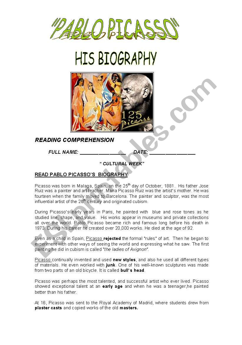 READING: Picasso´s biography worksheet