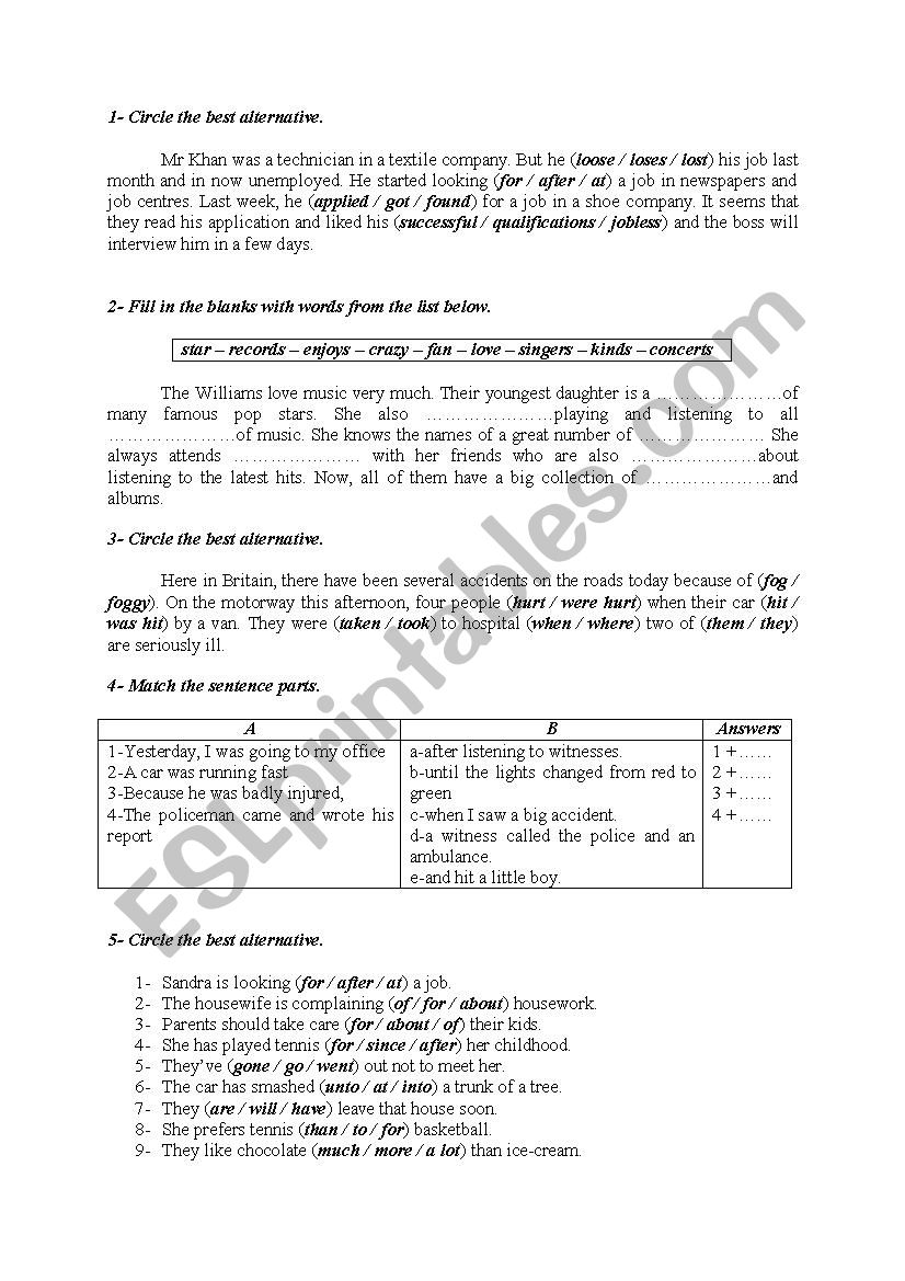 Language activities 23 worksheet