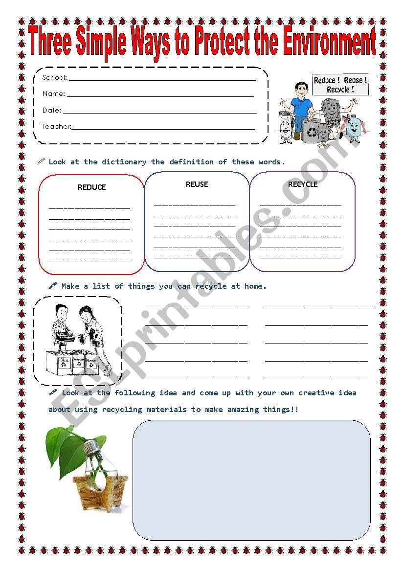 Reduce Reuse And Recycle Esl Worksheet By Sonyta04
