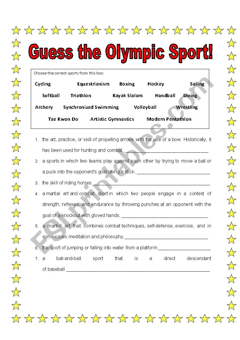 Guess the Olympic Sport worksheet