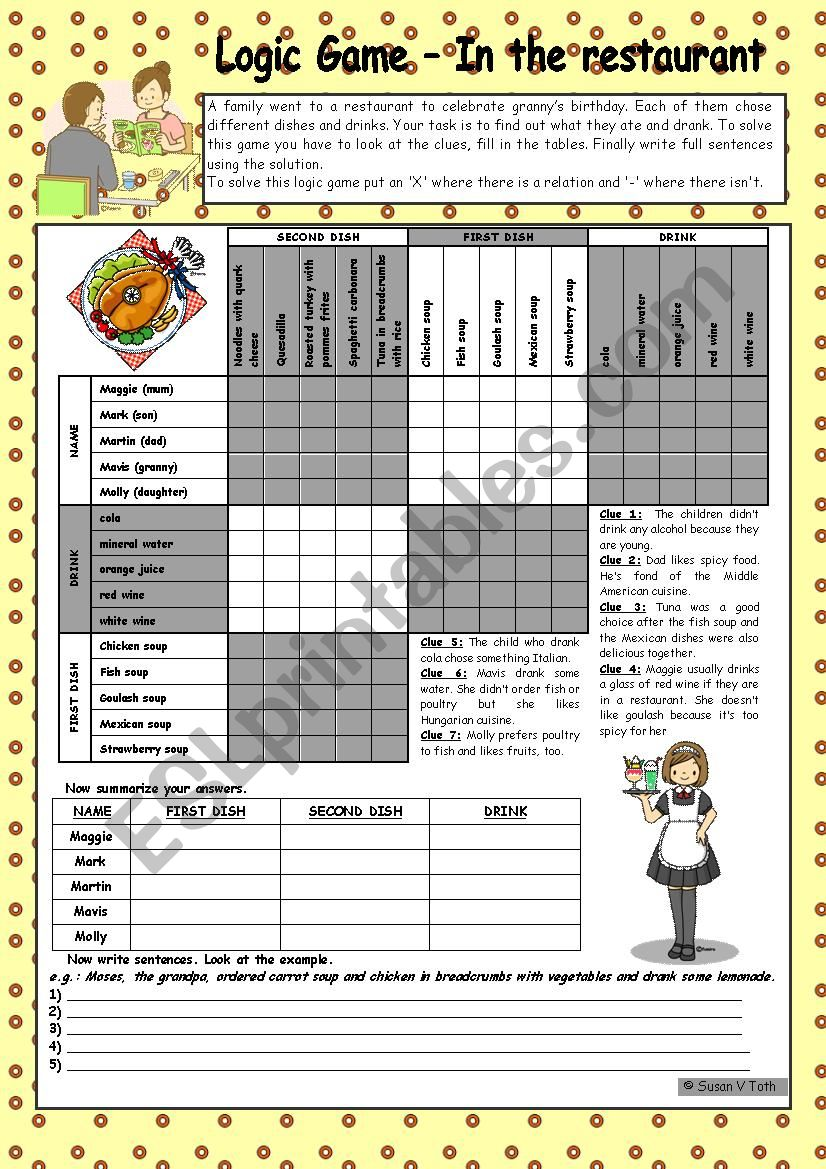 Logic game (46th) - In the restaurant *** with key *** fully editable *** B&W