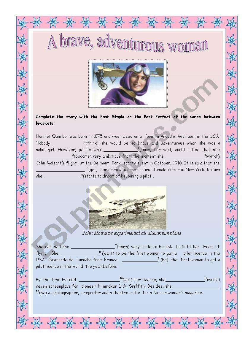 A brave, adventurous woman worksheet