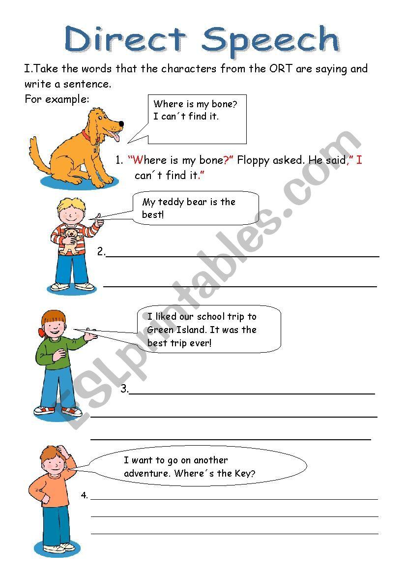 Direct Speech - ESL worksheet by yizelt