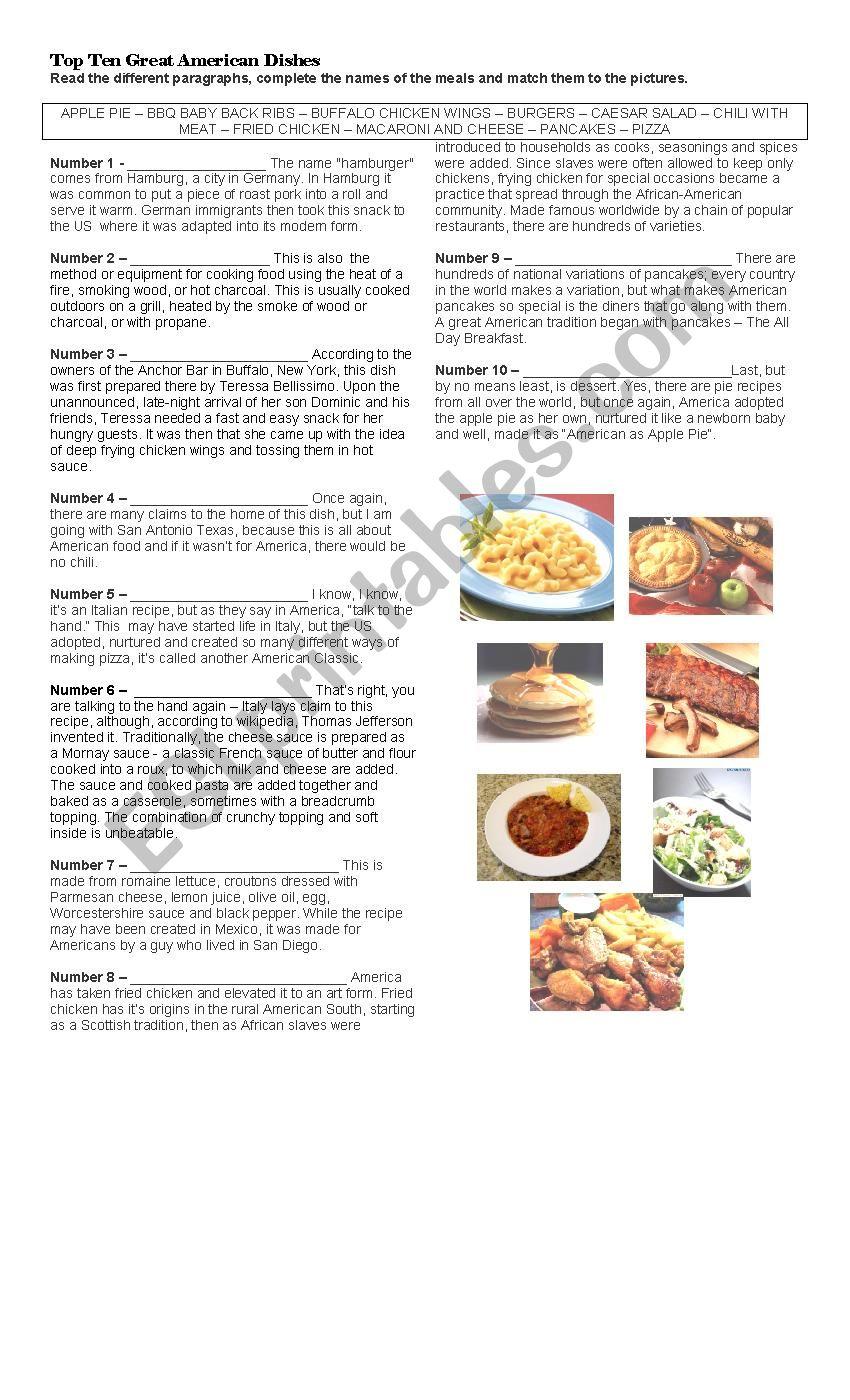 Top Ten American Dishes worksheet