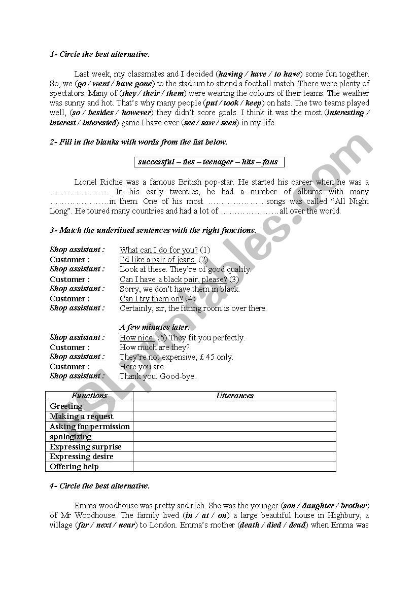 Language activities 27 worksheet