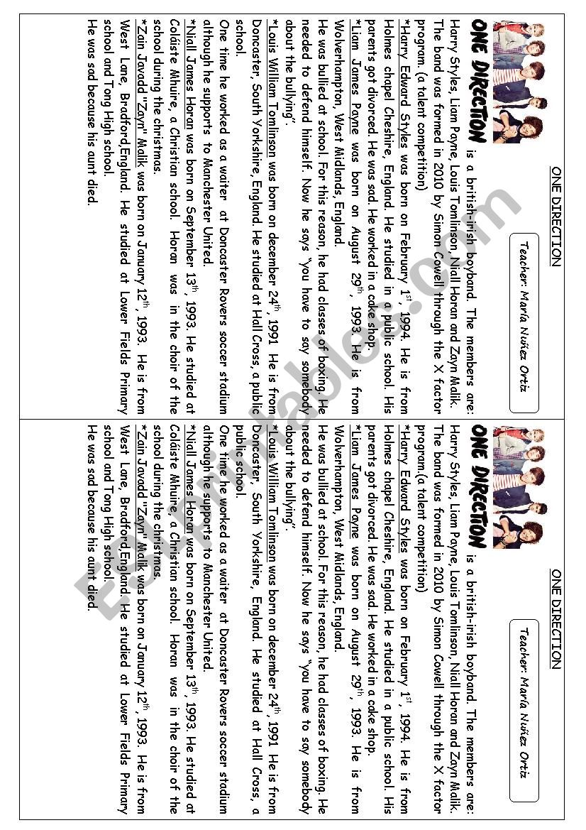 Worksheet  Biography of  One Direction